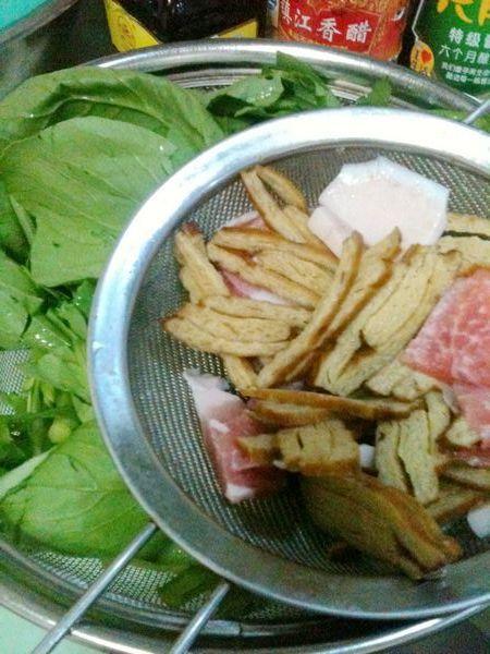 肉片豆干炒青菜的做法大全