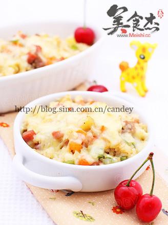 蔬菜肉丁焗饭的做法