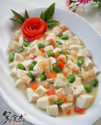 虾仁毛豆烩豆腐的做法图解