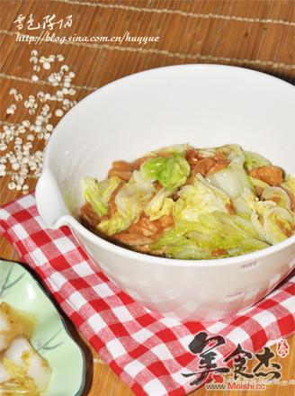 白菜炒油面筋+醋溜白菜的做法