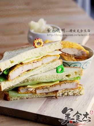 煎鸡排三明治的做法