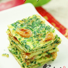 河虾韭菜蛋饼