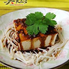 浇汁针菇冷豆腐