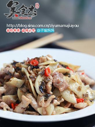 咸菜茭白炒肉片的做法