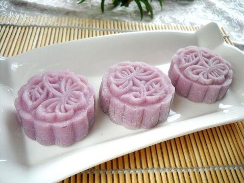 紫薯无花果酱馅冰皮月饼怎样煸