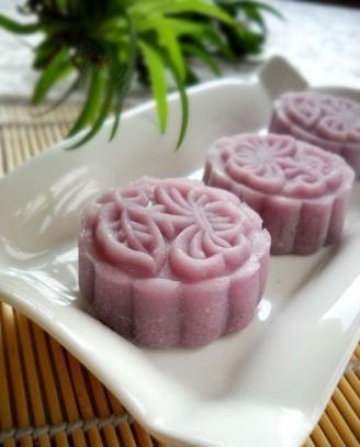 紫薯無花果醬餡冰皮月餅的做法