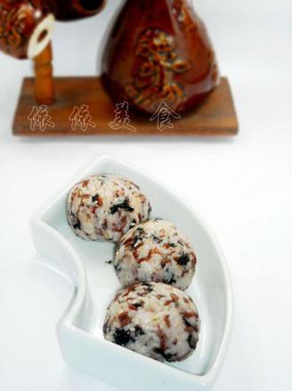 紅米肉松海苔飯團的做法