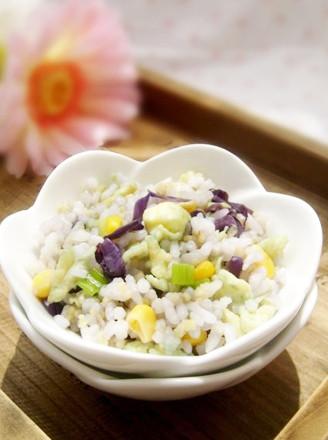 紫甘藍玉米蛋炒飯的做法