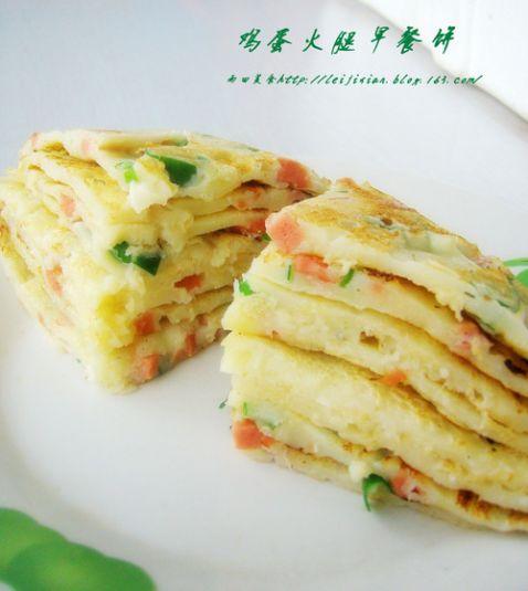鸡蛋火腿早餐饼怎么吃