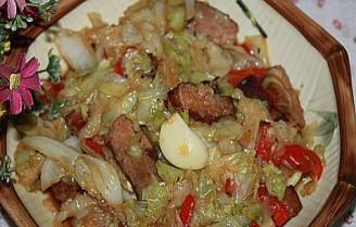 辣椒烤肉炒椰菜的做法