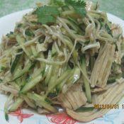 凉拌腐竹黄瓜金针菇