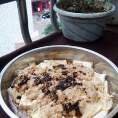 肉末金针菇蒸豆腐