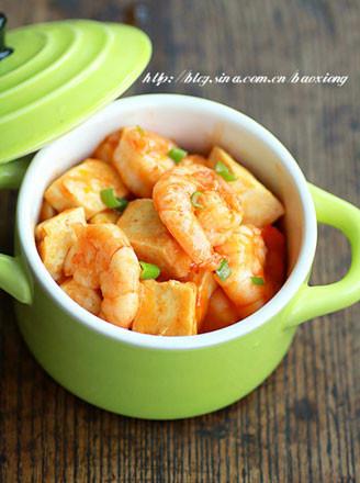 茄汁虾仁豆腐的做法