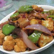 五花肉炒菜花