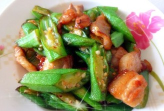 黄秋葵炒肉片的做法