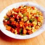 火腿肠炒粘玉米粒