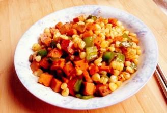火腿肠炒粘玉米粒的做法