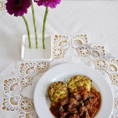 茄汁牛腩与烤土豆饼