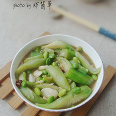 丝瓜炒毛豆