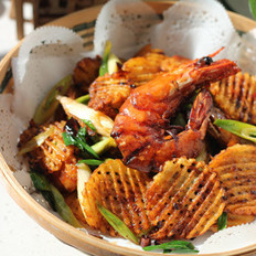 干锅土豆香辣虾