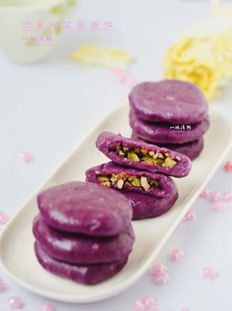 肉末榨菜紫薯餅的做法