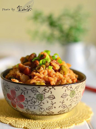 五花肉豆角焖饭的做法