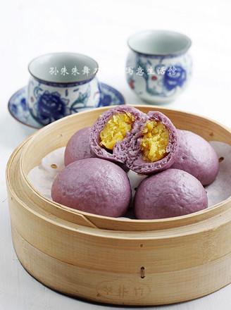 紫薯奶黄包的做法