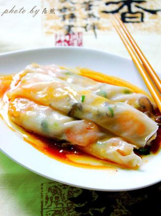 鲜虾香菇肠粉的做法