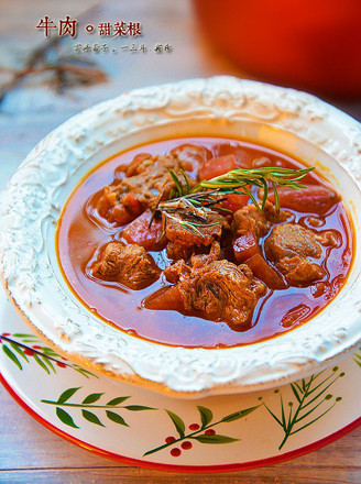 甜菜根牛肉果蔬汤的做法