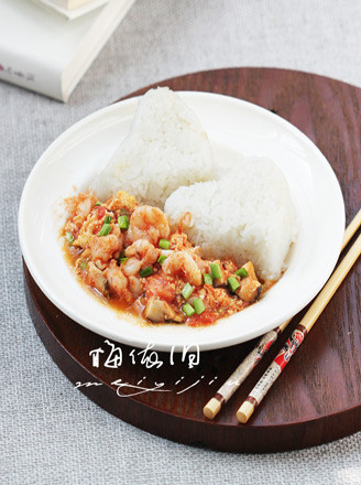 香菇虾仁滑蛋烩饭的做法