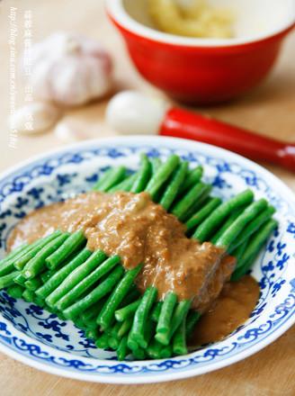 蒜蓉麻酱拌豇豆的做法