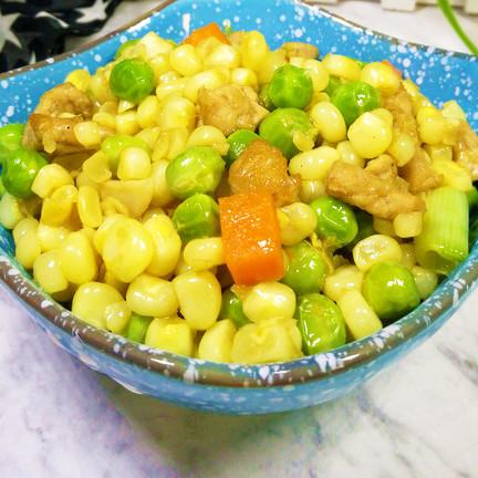 营养|玉米粒豌豆炒肉