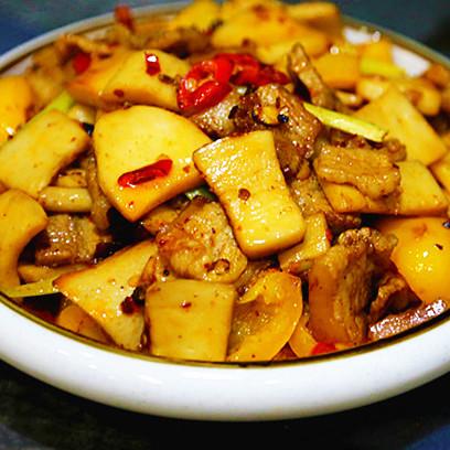 香辣|五花肉炒杏鲍菇