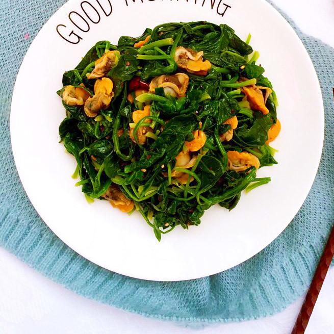 補鐵|毛蛤肉拌菠菜