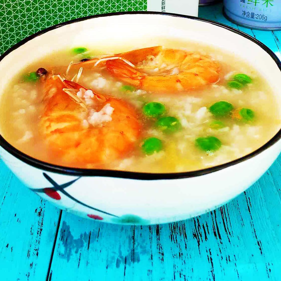 鲜虾豌豆砂锅粥