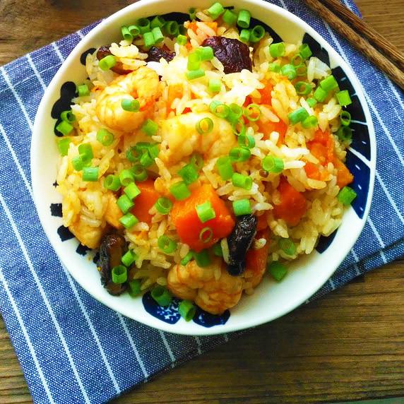 南瓜虾仁焖饭