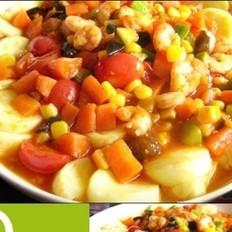 豆腐烩五色虾仁