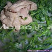 肉片炒豆苗