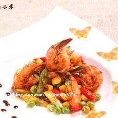 芦笋玉米炒鲜虾