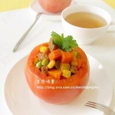 肉粒青豆酿番茄