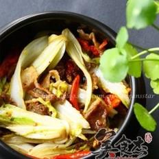 砂锅菜心五花肉的做法