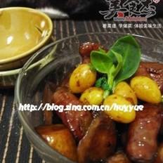 杏鲍菇焖白果腊肠