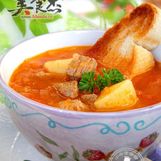 番茄浓汤滑牛肉的做法