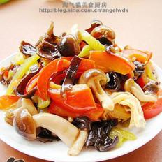 蟹味菇木耳炒双椒