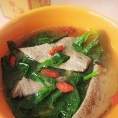 荠菜枸杞猪肝汤