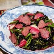 蒜香肉片红苋菜