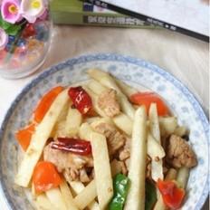 凉薯炒嫩肉片