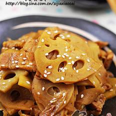 五花肉炒藕片