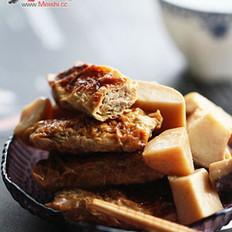 杏鲍菇烧豆皮虾肉卷
