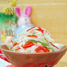 青红椒炒藕丝